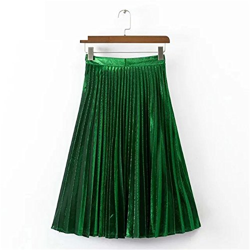 Eault Elegant autumn winter new Metallic Color large swing long pleated women skirt gold sliver purple blue green XS-XXL - New List Ban