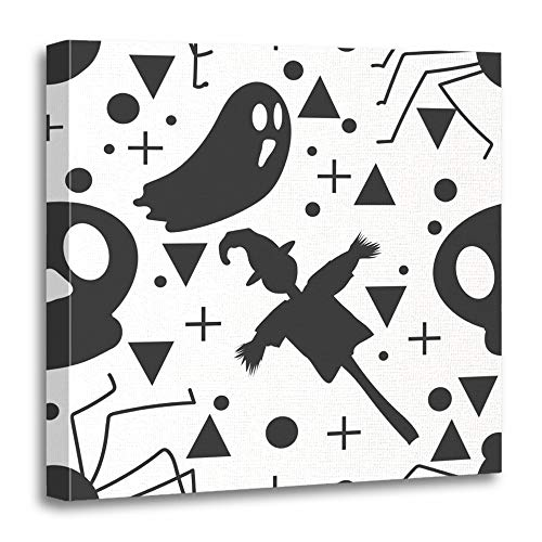Emvency Painting Canvas Print Artwork Decorative Print Baby Halloween Ghost and The Scarecrow Childish for Festive Cartoon Wooden Frame 20x20 inches Wall Art for Home Decor -