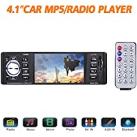 Bluetooth Car Stereo FM Radio In Dash Masione 4.1 HD TFT Screen MP3 Audio Video Player Single Din FM/SD/USB/AUX-in/Hands-Free Calls 12V Support Rear View Camera Input+Wireless Remote