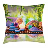 Ambesonne Spa Throw Pillow Cushion Cover, Stones with Candles Spiritual Eastern Yoga Relaxation Meditation Chakra Bamboos Print, Decorative Square Accent Pillow Case, 16 X 16 inches, Multicolor