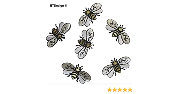 "#4132 Lot 6Pcs 1-5//8/"" Bee Embroidery Iron On Applique Patch"