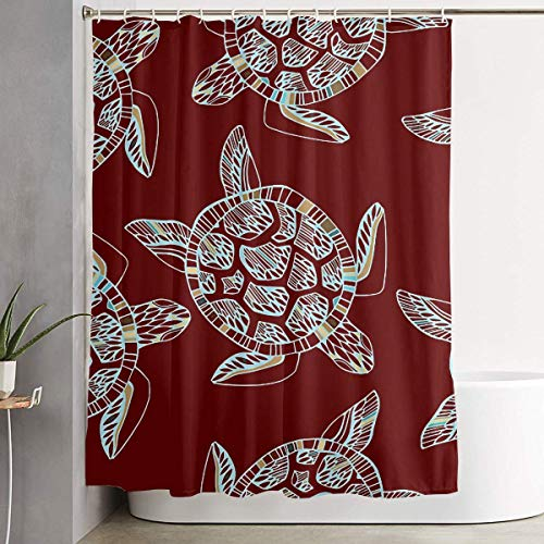 FaceTi Sea Turtle Clip Art Home Polyester Shower Curtain Waterproof Bathroom Decor Sets with Hooks 60x72 inch ()