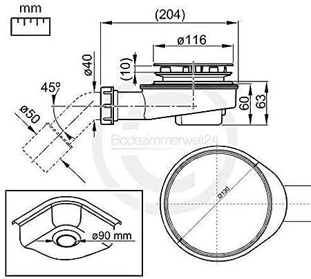 tubo flessibile Set AQUABAD/® per piatto doccia arco di scarico combinazione sifone extra sottile cromata /Ø 90 mm