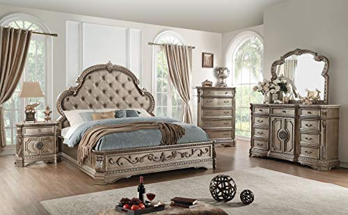 acme Northville Eastern King Bed, PU & Antique Champagne (1Set/3Ctn) Traditional/PU & Antique Champagne/ (Northville Woods)