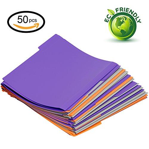 Poly Manila Folders - Plastic file folder letter size 3 color,1/3 cut tab,50 Per Box