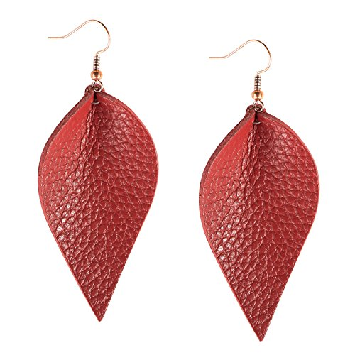 Me&Hz Red Leather Earrings for Women Fashion Leather Leaf Feather Earring Drop Dangle Handmade Leather Jewelry