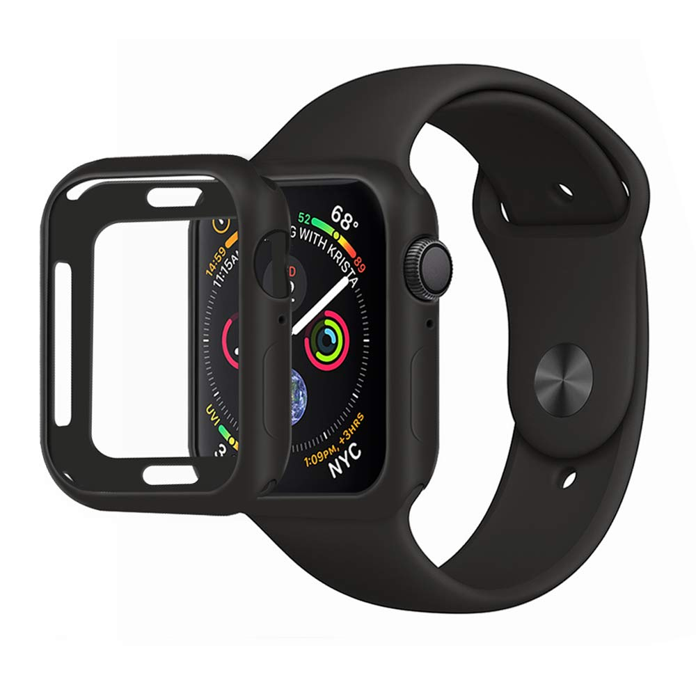 MENEEA for Apple Watch Series 4 Case Protector, Ultra-Thin Anti-Scratch Flexible Case Soft Protective Bumper Cover for New Apple Watch Series 4 44mm, Replacement for iWatch 4 case Black