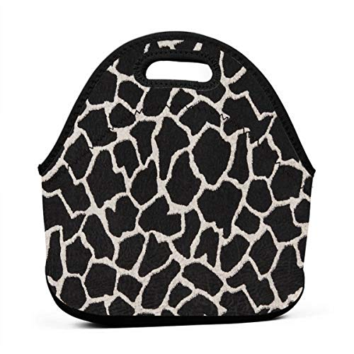 Portable Lunch Bag Tote Ebony Black And White Giraffe Neoprene Lunch Handbag Food Zipper Storage Lunch Box For Men Women -
