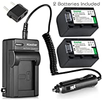 Kastar NPFH70 Battery (2-Pack) + Charger for Sony NP-FH100, FH60, FH70, NP-FH90, TRV and Sony DCR-DVD405 407E 408 410E 450 602E 650E DCR-HC96 DCR-SR85 HDR-HC9 HDR-UX20 HDR-SR12 DCR-SR65E XR500E etc.