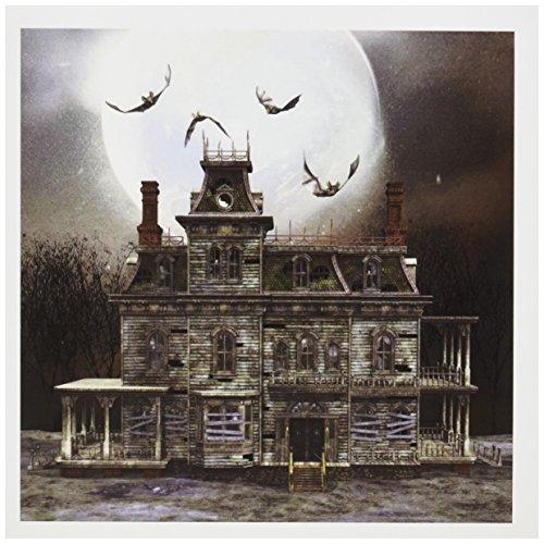 3dRose Set de 12tarjetas de felicitación, un espeluznante Halloween casa encantada con murciélagos y luna llena (gc _...