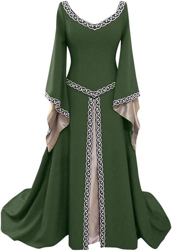 Faldas Mujer, Zolimx Mujer Medieval Vestido de Renacimiento en Forma Irregular de Manga Larga Cosplay Maxi Vestidos Invierno Mujer
