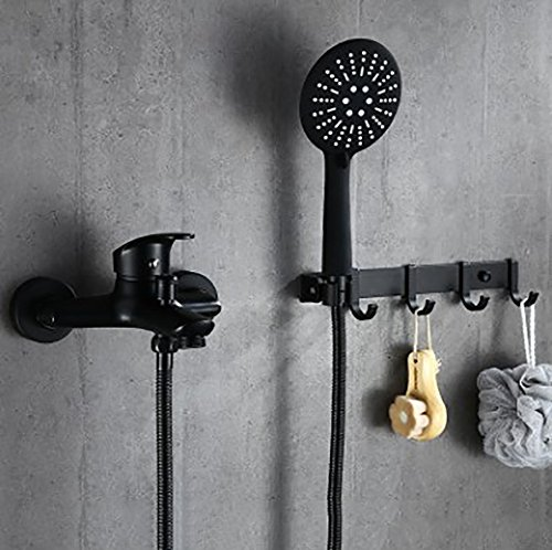 YYF-SHOWER Shower System Shower Sets, Stainless Steel Copper Body, Black Retro Fashion Wall-Mounted Row Hook Hand Shower Single Handle Hot Cold Water 4-Hole Installation, 1.5m Hose ()