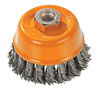 "Walter 13F304 Knot Twisted Wire Cup Brush, Threaded Hole, Carbon Steel, 3"" Diameter, 0.015"" Wire Diameter, 5/8""-11 Arbor, 12000 Maximum RPM"