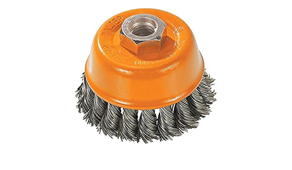 Walter Surface Technologies 13H454 Saucer-Cup with Crimped Wire Durable Carbon Steel Brush with Threaded Hole Abrasive Brushes