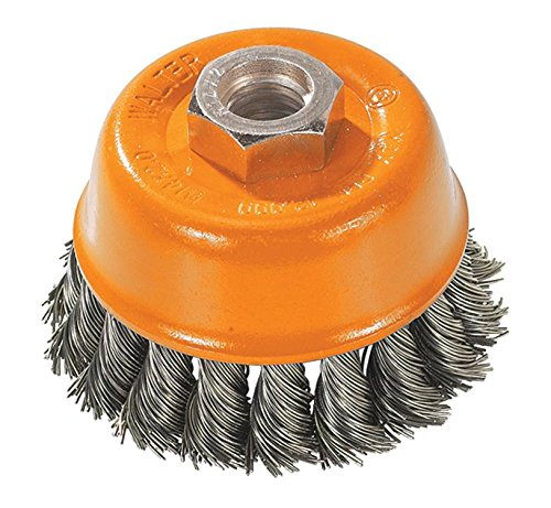 Walter 13F304 Knot Twisted Wire Cup Brush, Threaded Hole, Carbon Steel, 3' Diameter, 0.015' Wire Diameter, 5/8'-11 Arbor, 12000 Maximum RPM 3 Diameter 0.015 Wire Diameter 5/8-11 Arbor Walter Surface Technologies