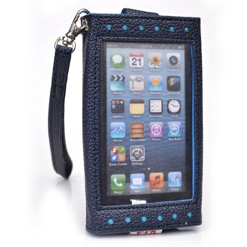 Dark Blue [Expose] Cover Case Wallet Clutch Acer Cloud Mobile S500 + NuVur ™ Keychain (ESAMEXB1)