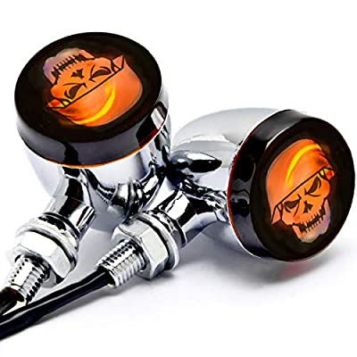 Krator JBM-042-C Turn Signals (2pcs Skull Lens Chrome Motorcycle Bulb Indicators Blinkers Lights): Automotive