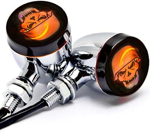 Krator 2pcs Skull Lens Black Motorcycle Turn Signals Bulb Indicators Blinkers Lights