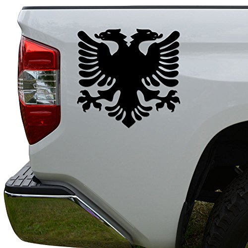 Albanian Flag Eagle Die Cut Vinyl Decal Sticker For Car Truck Motorcycle Window Bumper Wall Decor Size- [6 inch/15 cm] Wide Color- Gloss Black