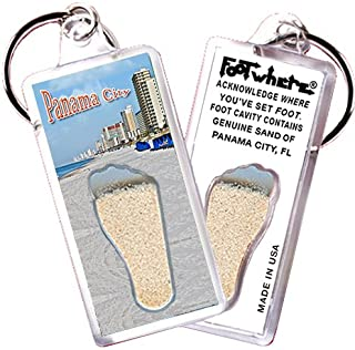 "product image for Panama City ""FootWhere"" Keychain (PC105 - Oceanview). Authentic Destination Souvenir acknowledging Where You've Set Foot. Genuine Soil of Featured Location encased Inside Foot Cavity. Made in USA"