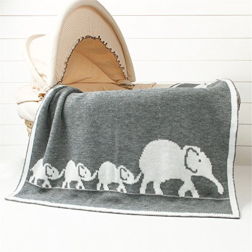 "Luerme Baby Knitted Blanket Throws Newborn Crochet Quilt Receiving Blanket Swaddle Wrap Stroller Cover Nursing Blanket Crib Rug Mat Print Blanket Warm Cuddle Sheet 30""X40"" (Gray Elephant) from Luerme"