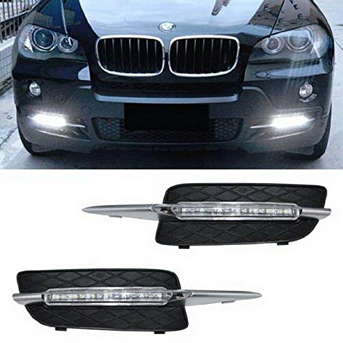 iJDMTOY Xenon White 18W High Power LED Daytime Running Light DRL Lamps For 2007-2010 Pre-LCI BMW E70 X5