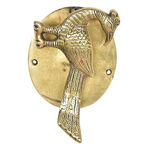 Ring Designer Carved (IndianShelf Handmade Brass Carved Golden Peacocok Door Knocker-1 Piece(MDK-189))