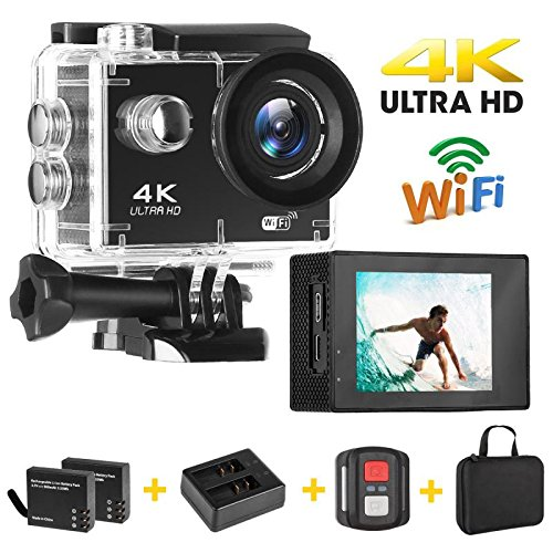 Action Camera, Auto Beyond 4K WIFI Anti-Shake Sports Action Camera Ultra HD 16MP/ 2 Inch LCD Screen/ 30m Underwater/ 170°Wide-Angle and EIS Sports Action Camera/ 2 Rechargeable Batteries/ Mounting Accessory Kits/ Portable Case-(Black) autobeyond