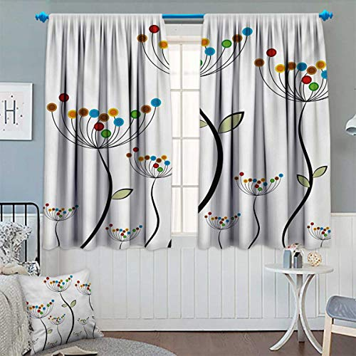 - Garden Blackout Window Curtain Colorful Dandelions Stems Buds Leaves Bedding Plants Wildlife Meadow Cottage Theme Customized Curtains 55