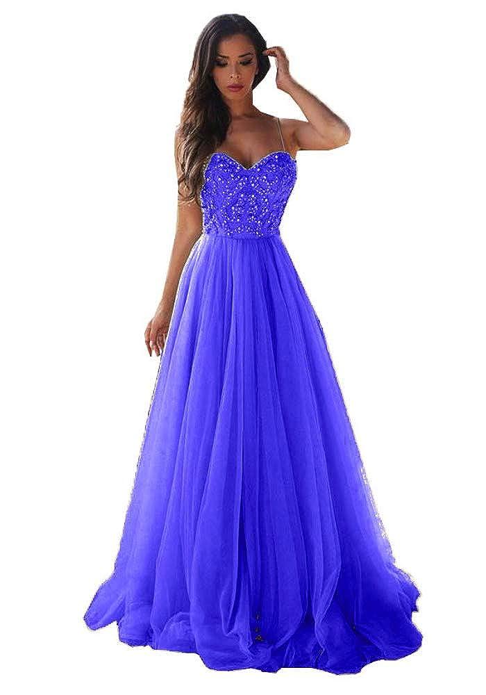 bluee Topashe Women's Beaded Rhinstone Spaghetti Strap Split Tulle A Line Prom Dress