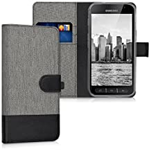 kwmobile Wallet case canvas cover for Samsung Galaxy Xcover 4 - Flip case with card slot and stand in grey black