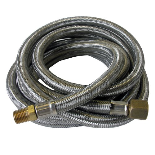 (Lasco 16-9085 Stainless Steel Propane 12-Feet High Pressure Cooker/Smoker Hose, 1/4-Inch Male Iron Pipe by 3/8-Inch Female Flare Swivel)