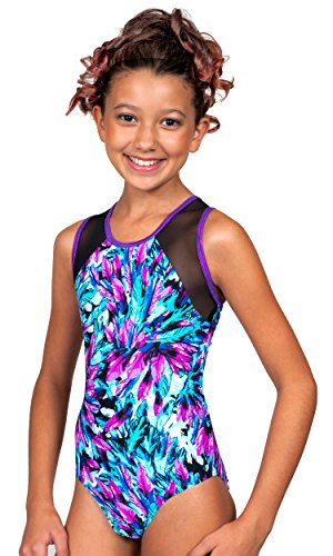 TumbleWear Girl's Kiera Feathers Leotard (10-12, purple)