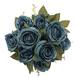 MeHelany Fake Rose Flowers,Artificial Handmade 9 Heads Silk Wedding Bouquet Floral Table Centerpiece, Home, Party, Bridal Decoration Pack of 1 (Navy) 7
