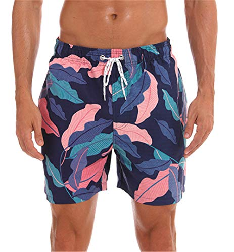onlypuff Men Swimwear Swimsuits Leaves Print Surf Board Boxer Shorts Trunks Blue S