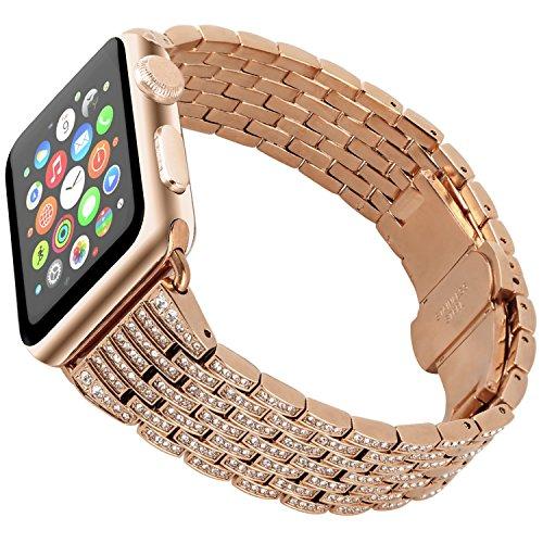 Band Pink Crystal (Tomazon Apple Watch Band, Stylish Crystal Rhinestone Diamond Stainless Steel Watch Band Bracelet Strap Link with Folding Buckle for Apple Watch Series 3 Series 2 Series 1 - 38mm Rose Gold)