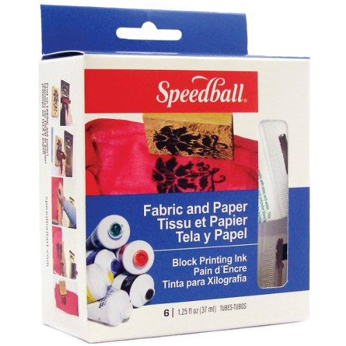 Speedball Art Products Block Printing Ink, 1.25-Ounce, Fabric and Paper, 6 Per Package - Paper Block Printing Ink