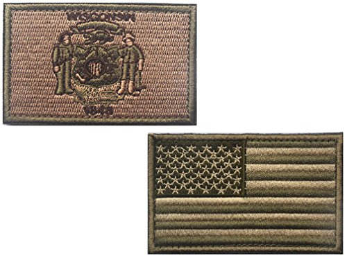 HFDA 2 piece US Flag and KB WISCONSIN Flag Patches Velcro Morale Patches Cloth Fabric Badges Tactical Patches for Cap Jackets (23 in, Color 2)