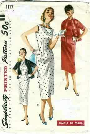 3deaa91dcd Simplicity 1117 Misses One-piece Slender Dress and Jacket Sewing Pattern