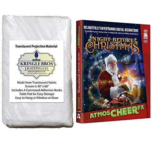 AtmosFear FX Night Before Christmas on SD Card and High Resolution Fabric Rear Projection Screen ()