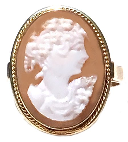 Ring Cameo Italian Master Carved, Princess Portrait Sterling Silver 18k Gold Overlay Size (Carved Italian)