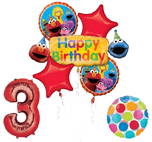 Elmo and Friends Sesame Street 3rd Birthday Supplies Decorations Balloon kit (Best Birthday Party Places For 11 Year Old)