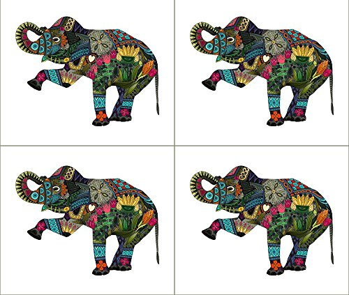 Elephant Fabric - Asian Elephant White 4 Per Fq by scrumm...