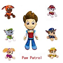 Gentric PAW PATROL PLUSH PUP PALS , COMPLETE SET OF ALL 7 - RYDER ZUMA SKYE RUBBLE ROCKY MARSHALL CHASE