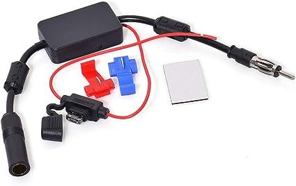 Eightwood Dab Antena Amplificador de señal Dab Antena Coche para Automóvil Am FM Antena Adaptador DIN Amplificador Antena Compatible para Dab Antena ...