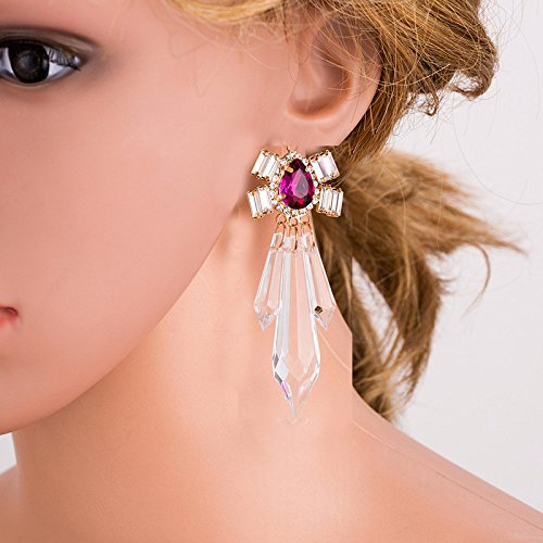Dangle Earring Clip on Screw Back Clear Crystal Glass Tear Drop Statement for Girls Fashion Jewelry