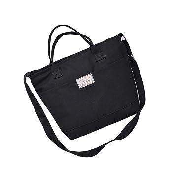96fbd33af463 Kolylong Women Casual Simple Canvas Handbag Cross Body Shoulder Messenger  Bag (Black)