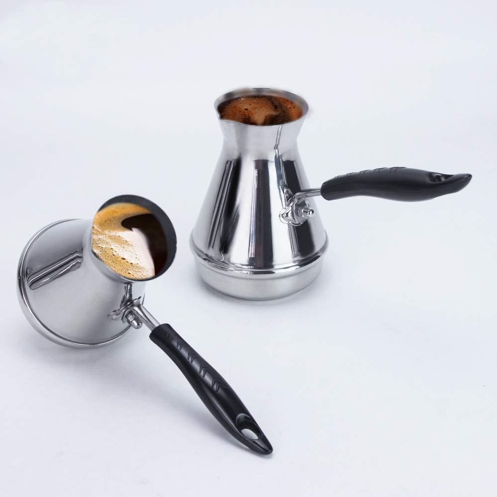 REFURBISHHOUSE European Manejar Largo Moka Pot Port/áTil /áRabe Turco Acero Inoxidable Cafetera Pot Mantequilla Dotaci/óN De Caf/é Utensilios De Caf/é 250 Ml