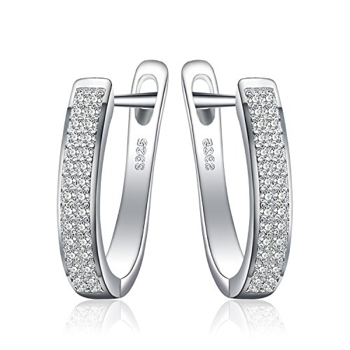 JewelryPalace Cubic Zirconia Anniversary Channel Set Eternity Clip On Hoop Earrings 925 Sterling Silver