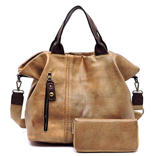 Le Miel Distressed Effect Vegan Leather Weekender + Wallet (Mocha)